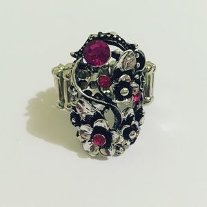 Pink Gem Flower Stretch Ring